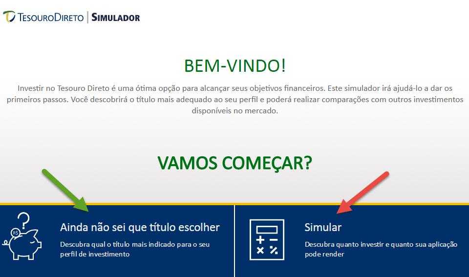 página inicial do simulador